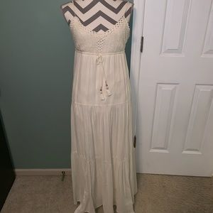 Cream maxi with crochet on top.
